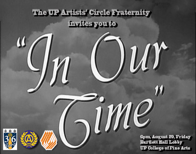 """In Our Time"" opens on August 29 and runs until September 15 at the Bartlett Hall Lobby"