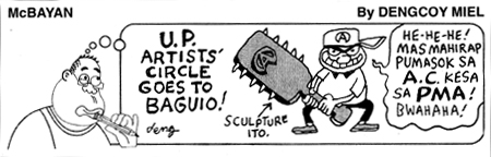 McBayan comic strip by Dengcoy Miel 81 feature ACs new Baguio venture, Philippine Star October 31 2008