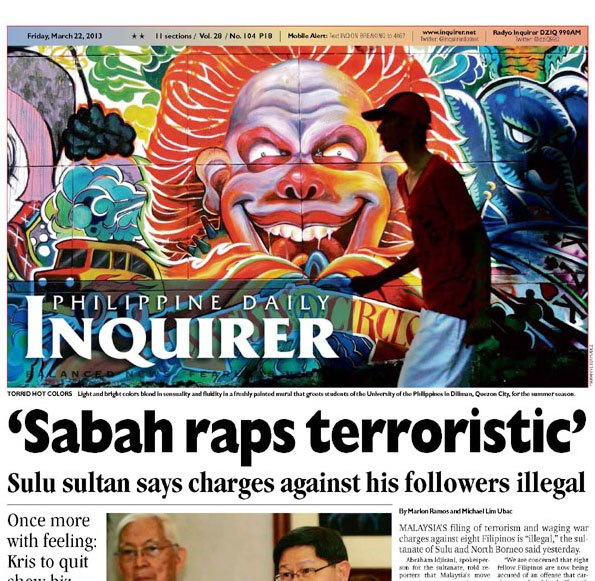 The UP College of Fine Arts Freedom Wall by the the UP Artists' Circle Fraternity and Sorority at the cover of the Philippine Daily Inquirer (Official) http://www.inquirer.net/?page-one=march-22-2013 —